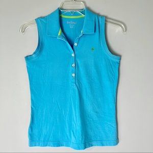 Lilly Pulitzer Sleeveless Polo Top Turquoise